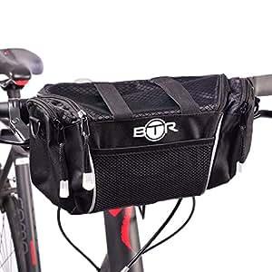 BTR Large BLACK Handlebar Storage Bike Bag Pannier With Removable Shoulder Strap and Water Resistant