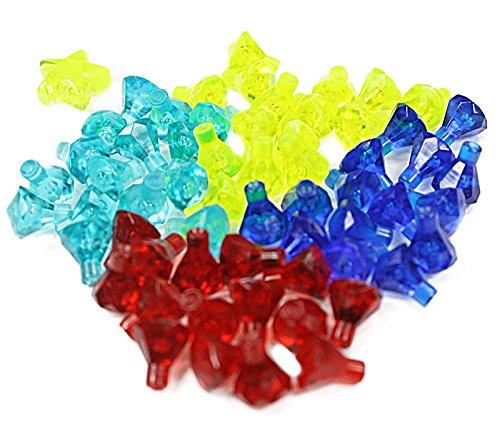 LEGO 60 Diamanten in 4 verschiedenen Farben plus 1 trans neonfarbenen Stern
