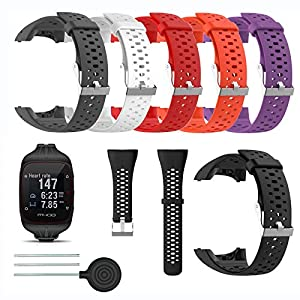 Saisiyiky Accessory Quick Release Replacement Soft Silicone Watch Band Sport Strap Bracelet for Polar M400 / M430 GPS Smartwatch Watch (Red)