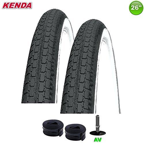 2 x Kenda K-127 Fahrraddecke Reifen schwarz/weiß - 47-559 - (26 x 1.75) mit AV Schläuche
