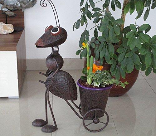 Gartenfigur Ameise mit Schubkarre Pflanztopf Metallfigur H ca 56 cm B 35T 20112