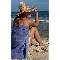 Fouta Toalla Hammam 'Playa' XXL Azul, Original ZusenZomer | Lujoso Modelo Extra Grande de Toalla de Sauna | Muy Absorbente y Ligero | 100x190 cm | 100% Algodón con Motivo de Espigas