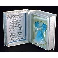 Congratulations on your New Baby Boy blu personalizzato cristallo angelo custode poesia (Congratulazioni Nuovo Bambino)