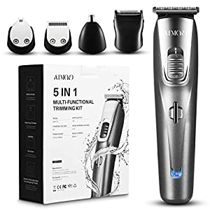 ATMOKO 5-in-1 Bartschneider Set Bart Trimmer Wasserdichter Barttrimmer und Haarschneider Herren Haartrimmer Multifunktionstrimmer Körperhaartrimmer Ohren- und Nasenhaartrimmer
