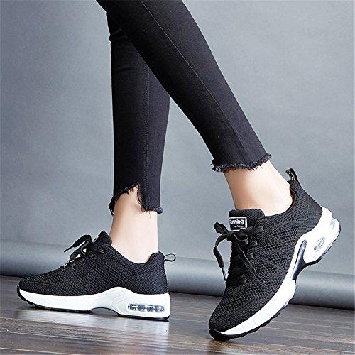 MIMIYAYA Donna Air Scarpe da Ginnastica Corsa Sportive Running Fitness Sneakers Basse Interior Casual all'Aperto Leggero e Traspirante 34-40EU Nero