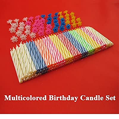 Decorative 152 Pc Birthday Candles Set with easy-to-use Holders angel flames with coloured Birthday Cake Party Candles - Multi Coloured from Party Time