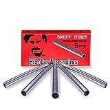 5 tubos in acciaio inossidabile per sniffare 60 mm con incisione per tabacco da fiuto