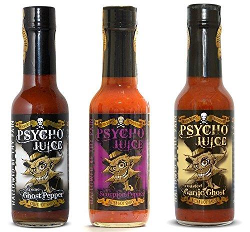 """Psycho Juice Set de Regalo Colección """"Ghost Pepper"""" - Salsa Picante Extrema 3 x 148ml"""