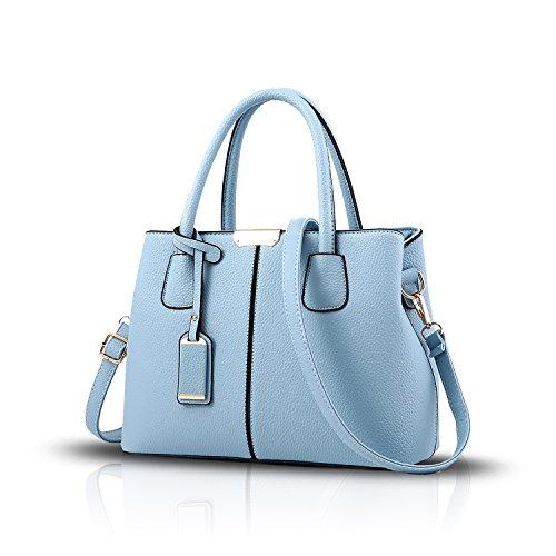 Tisdain Il raccoglitore semplice di cuoio dell'unità di elaborazione del sacchetto del messaggero della spalla di colore della borsa delle donne semplice di modo cielo blu