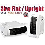 MP Essentials White Small Quiet Portable 2Kw 2000W Electric Floor & Upright Fan Heater