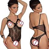 UMIPUBO Conjuntos de Lencería Mujer Ropa Interior Ropa de Dormir Encaje Atractivo Babydol Pijamas (Negro, L)