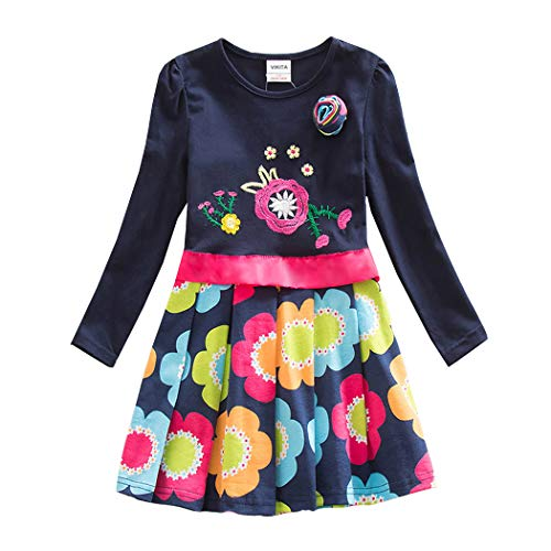 VIKITA Mädchen Blumen Langarm Baumwolle Kleid EINWEG LH5868 6T (Mädchen 7-jährige Für Kleider)