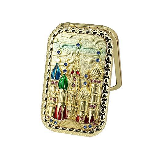 (Naisicatar tragbaren Taschenspiegel Handspiegel Make-up Spiegel Schloss Muster Entlastungen Vintage Style Halloween Weihnachtsdekoration Geschenk DIY Schmuck Geschenk- Goldene Nützliches Makeup Tools)