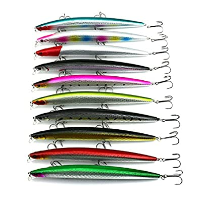 HENGJIA Pack of 10 26g/18cm Minnow Fishing Lure Lifelike Big Bass Shad Bait for Sea/Fresh Water Bionic Artificial Hard Bait MI101 by HENGJIA