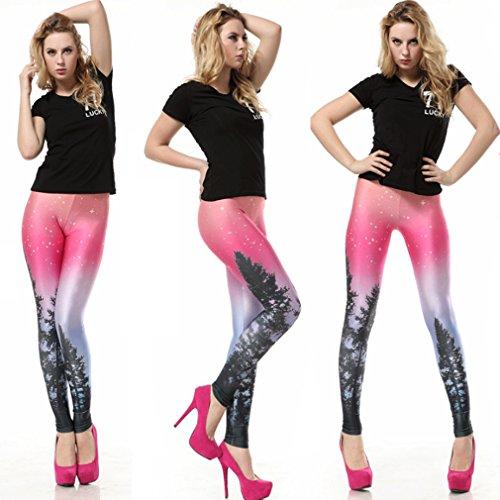 THENICE damen Digitaldruck-Leggings Aurora Skye neon