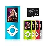 Mymahdi Lettore MP3/MP4 Digitale, Support Massimo 64 GB Micro SD Card, Visualizzatore Foto e Video, E-Book Reader, Radio FM, Registratore Vocale, Blu