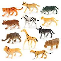 Vektenxi 12 pcs Childrens Assorted Plastic Toys Simulated Wild Animals Model Jungle Zoo Pretend Play Figures Durable and Practical