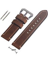 Reloj de pulsera de piel auténtica marrón 22mm Correa de Reloj de banda watchband con hebilla Silvery