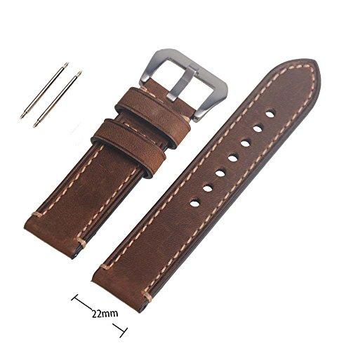 reloj-de-pulsera-de-piel-autntica-marrn-22mm-correa-de-reloj-de-banda-watchband-con-hebilla-silvery