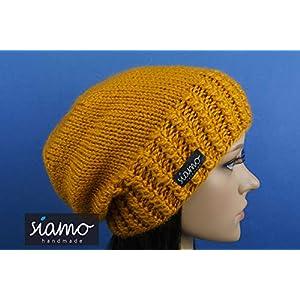 Luxus Beanie HUARAZ senf-gelb 100% Babyalpaka Winter-Mütze von siamo-handmade