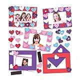 Baker Ross Kits Cadre Photo aimantés cœur à Assortir (Lot de 6) - Que Les Enfants pourront Assembler, Exposer ou Offrir pour la fête des mères ou la Saint-Valentin