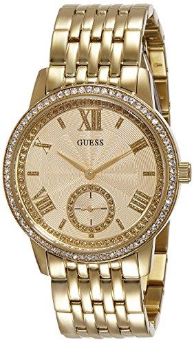 Montre Femmes Guess Quartz - Affichage Chronographe Bracelet Acier Inoxydable Or et Cadran Beige W0573L2