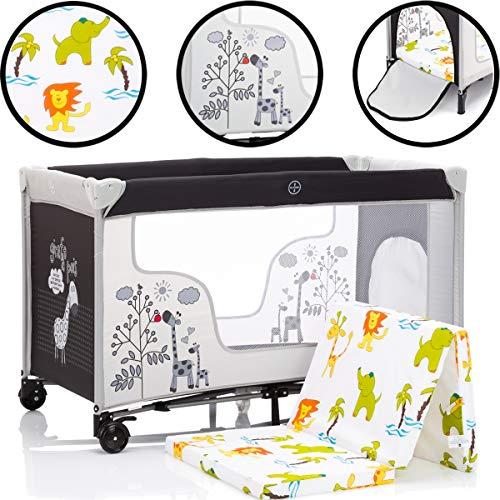 SET DSCHUNGEL: Reisebett/Babybett (120 x 60cm mit Schlupfloch) + Schaumstoff-Matratze aus 100{f900d7eab4fb556f0df39c105d3c85c4384d141d6ca15524f29a54b4ba68de1b} BAUMWOLLE + Transporttasche Baby Kind Bett 0-5 Jahre