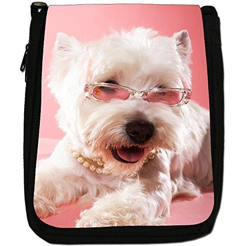 West Highland White Terrier, in tela, colore: nero, taglia: M Nero (Princess Westie Dog)