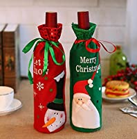 DoTech 2Pcs Santa Claus Snowman Red Wine Bottle Bag Covers Christmas Party Dinner Table Decor Xmas Wine Gifts Bags (B)