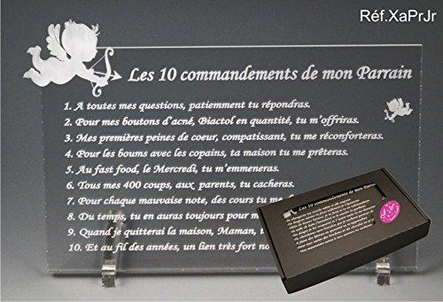 Les 10 commandements de PARRAIN - Ange texte Junior - Cadeau Baptême & Communion