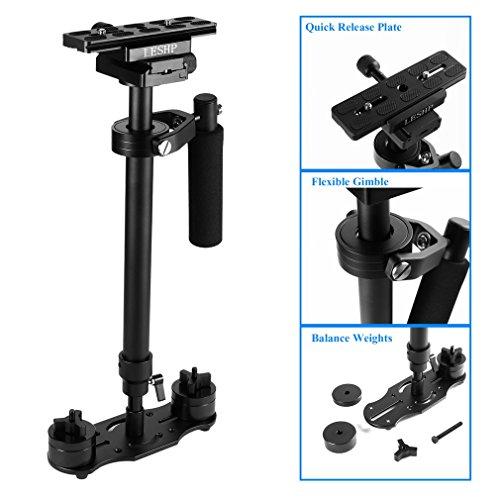 Schwebestativ ,LESHP 60cm Handvideokamera Schwebestativ Stabilisator Stabilizers Systemkamera Steadycam Hovering Tripod für Kamera Video DV DSLR Nikon Canon/Sony/Panasonic (Schwarz, S-60)