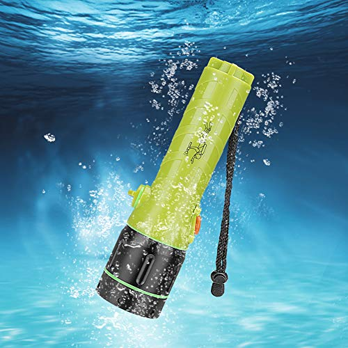 Wokee Unterwasser Taschenlampe,50 bis 60 Metern,IPX68 Unterwasser,2 Modi Unterwasser Tauchen Taktische Taschenlampe,Schwarz für Tauch-, Erkundungs