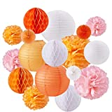 BENECREAT 17 Piezas Naranja Rosa Blanco Tema de Papel Pompones Flores de Papel Linternas de Papel Fans Boda cumpleaños Fiesta