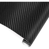 TRIXES 3D Vinilo de Fibra de Carbono Envoltura Adhesiva para Coche - 1500 X 300 mm - Negro - para Interior/Exterior - Efecto Texturizado 3D para Automóvil