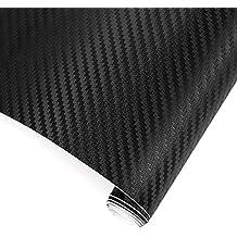 TRIXES 3D Vinilo de Fibra de Carbono Envoltura Adhesiva para Coche - 1500 X 300 mm