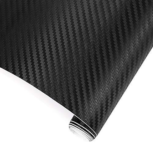 TRIXES Pellicola vinilica adesiva 3D in fibra di carbonio per l'auto - 1500 x 300 mm - Nero - per interni/esterni - Lavorata effetto 3D