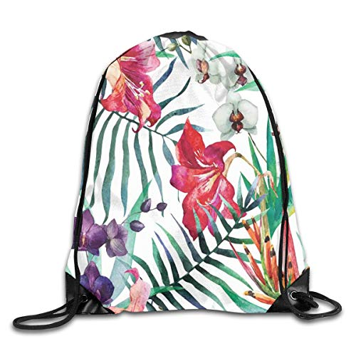 HLKPE Drawstring Backpacks Bags Daypacks,Tropical Wild Orchid Flowers with Palm Leaves Print Exotic Style Nature Artwork,5 Liter Capacity Adjustable for Sport Gym Traveling (Royal Blue Orchids)