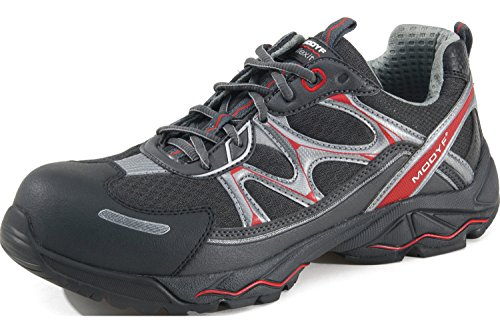 Modyf® FLEXITEC® Run Sicherheitshalbschuh S1P - Schuhe EN ISO 20345 S1P für Innenbereiche geeignet - Arbeitsschuhe mit Durchtrittschutz Grau Rot