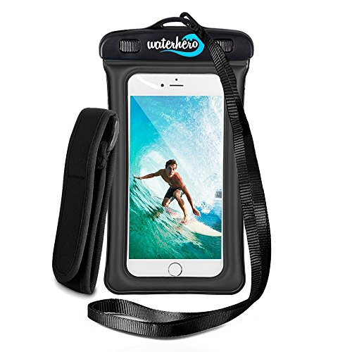 WaterHero® Universal Floatable Waterproof Case ✪ Built in AUDIO-JACK ✪ Durable Touch Responsive Waterproof Phone Case for Swimming, Skiing, Camping, Hiking, Kayak, Rafting, Fishing, Scuba Diving, Travel, Beach, Holiday Essentials Equipment Accessories. Waterproof to 100ft/30m deep. Premium Dry Bag Cover Pouch. Fits All Mobile Phones. Lifetime Warranty.