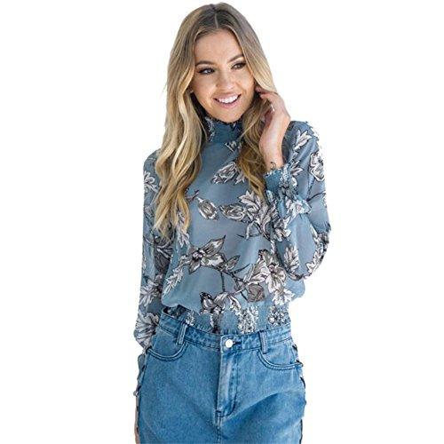 Lilicat Frauen Casual Bluse Vintage Langarm Chiffon T-Shirt Sommer Herbst Blumen Gedruckt Chiffon Oberteile Damen Chic Top Mode Hemd Festlich Crops Top (M, Blau) (Blaue Vintage-t-shirt)