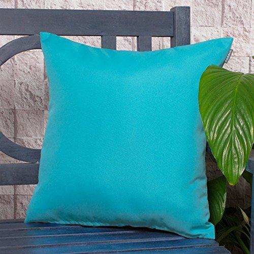 Gartenkissen Sitzpolster – 2 Stück, 43cm x 43cm – Wasserblau - Wasserabweisend mit einer Textilfaserfüllung – Dekoratives Zierkissen für Gartenbänke, Stühle oder Sofas Outdoor Patio Kissen Stuhl
