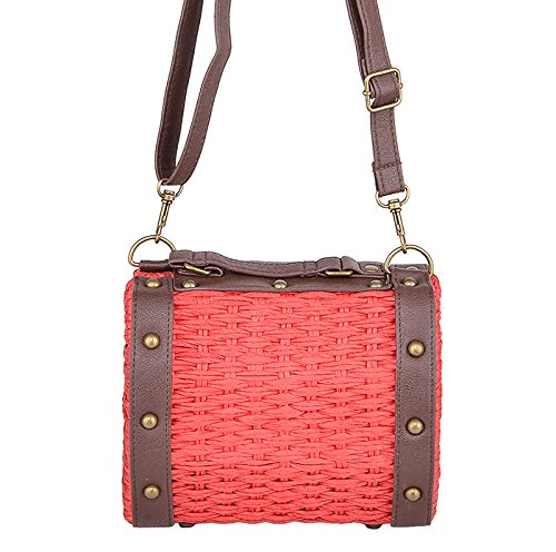 Damen Tasche Raffia Bast Vintage Korbtasche Rot Rot / Braun