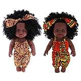 Backbayia Afro-amerikanische Puppe, realistisch, Weihnachtsgeschenk für Kinder, 2 Stück