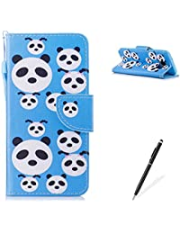 Samasung Galaxy J330/J3 2017 PU Premium Leather Phone Cases,MAGQI Flowers Panda Unicorn Cartoon Pattern Design Cover and [Scratch Proof] Flexible For Samasung Galaxy J330/J3 2017 Flip Wallet Shell-Cute Panda
