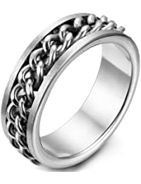 JewelryWe 8mm Men's Stainless Steel Silver Tone Curb Chain Band Ring (Sze L - X Available)