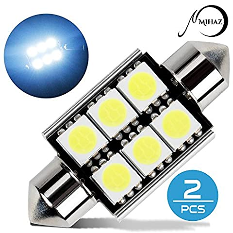 MIHAZ 2pcs 39MM 6-SMD White 6000K Can-bus Error Free Festoon LED Light Bulbs DC 12V Car interior Lights Side Marker License Plate Lighting Bulb