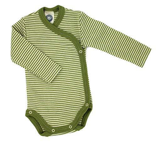 Cosilana - Baby Wickel Body 1/1 Arm, 62/68, geringelt Grün-Natur, 70% Schurwolle kbT, 30% Seide