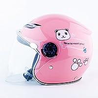 Jipai(TM) Casco da Ciclismo Moto Classico Vintage Sicurezza Protezione della Testa Regolabile per Bambini (Rosa)