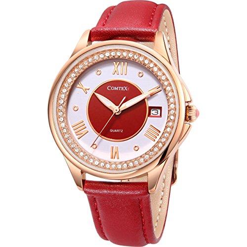Comtex Armbanduhr Damen Roségold mit Rotes Lederband Quarz Analog Diamant-Lünette Datum Elegant Damenuhr Wasserdicht