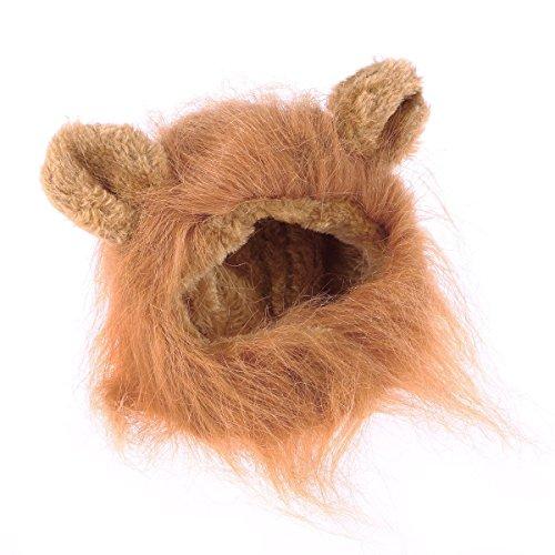 TENDUAGEN Lovely Cat Perücke Pet Kostüm Löwe Mähne Perücke mit Ohren für Kitten oder (Pet Kostüm Löwe)
